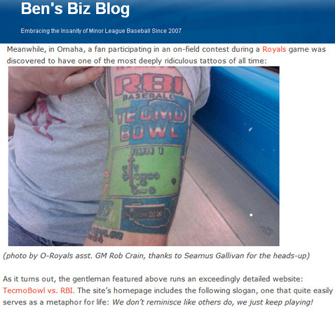 Tecmo tattoo gets featured